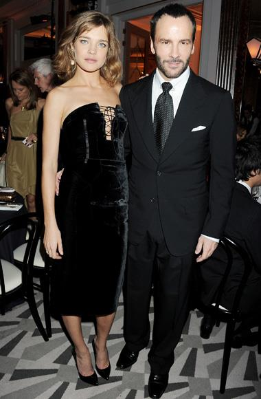 Natalia Vodianova with Man in a Woman's World award winner Tom Ford, both wearing Tom Ford.