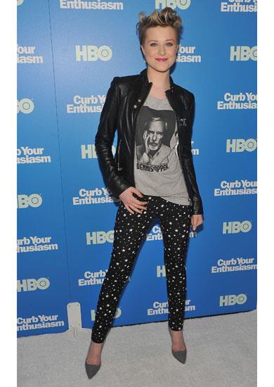 Actress  Evan Rachel Wood in Dolce & Gabbana A/W 11-12  star print pants
