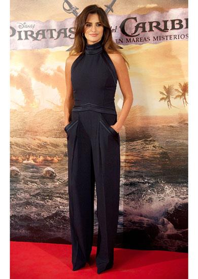 Penelope Cruz wears a navy crepe Hakaan jumpsuit at the Madrid premiere of Pirates Of The Caribbean: On Stranger Tides Madrid.