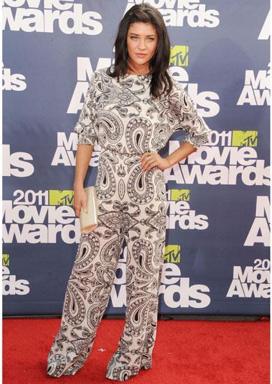 Jessica Szohr wearing a monochrome print Alice + Olivia jumpsuit at the 2011 MTV Music Awards.