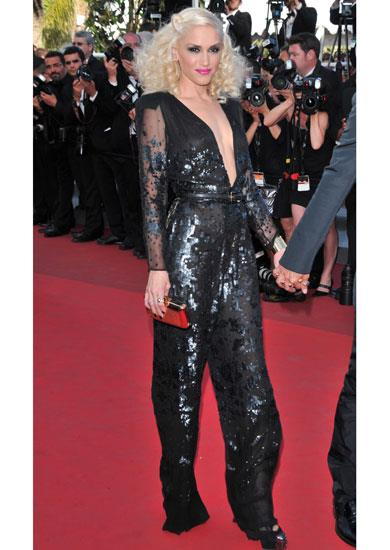 Gwen Stefani in a black sequinned number by Stella McCartney at Cannes.
