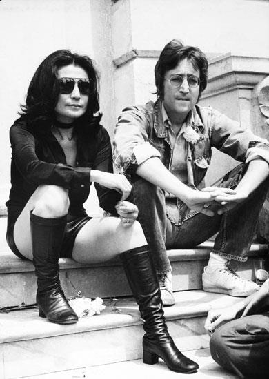 Portrait Of John Lennon And Yoko Ono At Cannes Festival At Cannes In France During Seventies.
