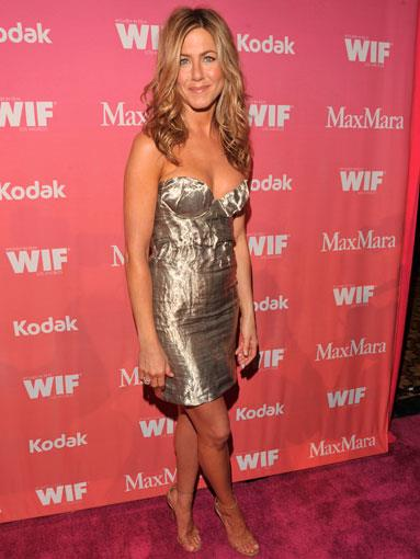 Aniston in gold lamé Prada at the 2009 Women in Film Awards in Los Angeles