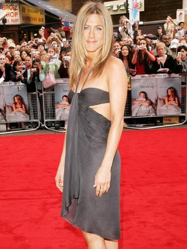 In cut-out Versace at the UK premiere of The Break-Up