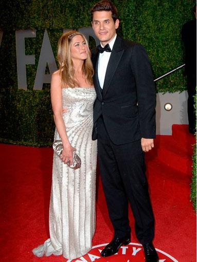 Aniston at the 2009 Academy Awards with ex-boyfriend John Mayer