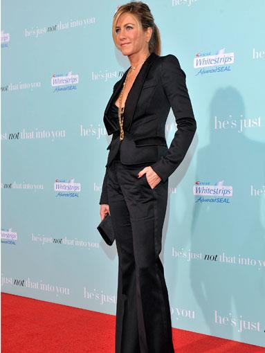 Aniston worked her classic androgynous style in a tailored suit at the L.A. premiere of He's Just Not That Into You