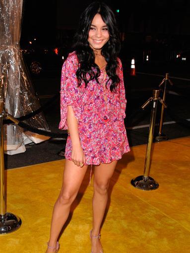 Vanessa Hudgens in a flowing floral jumpsuit