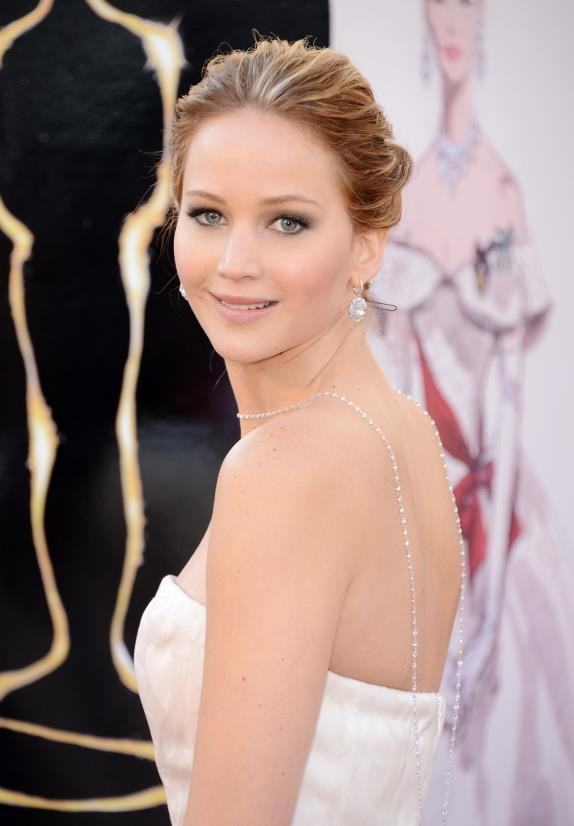 <u><b>In your 20s...</b></u><br> Jennifer Lawrence, 22 Actor<br> Jennifer adds glamour and interest to her simple strapless neckline with large diamante drop earrings and a long strand of pearls, worn backwards.