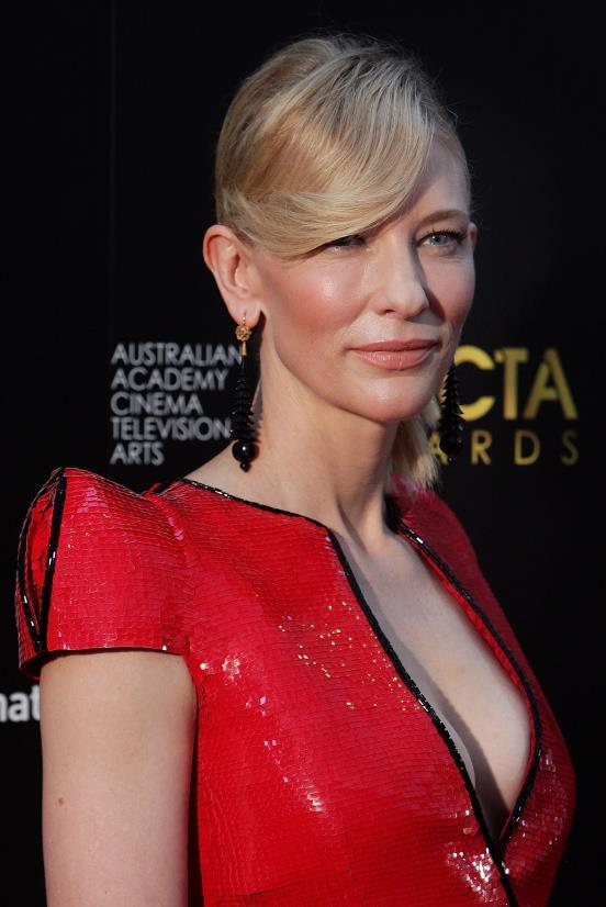 <u><b>In your 40s...</b></u><br> Cate Blanchett, 44, Actor<br> A sharp shoulder dress calls for a powerful statement and these long black fishbone earrings pack a punch against Cate's sleek understated hair.