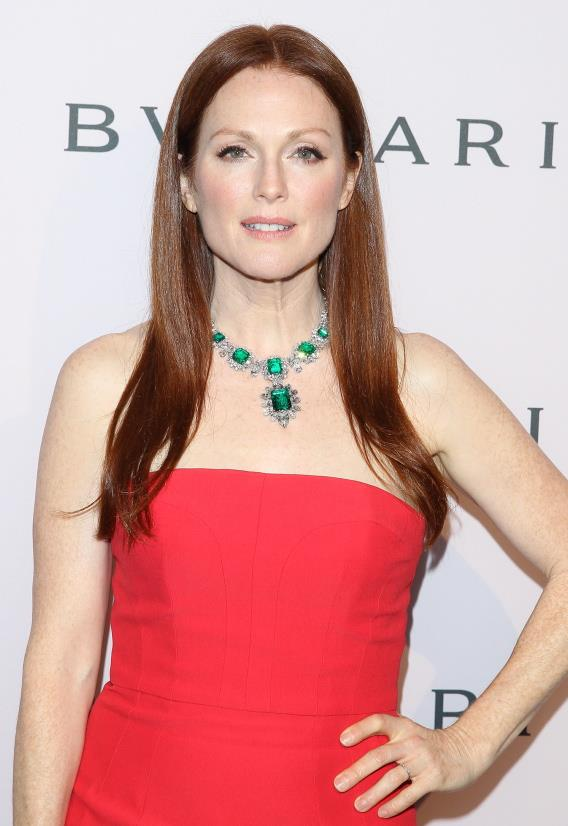 <u><b>In your 50s…</u><br> Julianne Moore, 52, Actor</b><br> As the glamorous face of Bulgari jewellery, the stunning Ms Moore is often snapped showcasing exquisite gems, like this famed 83.5 carat emerald necklace from Elizabeth Taylor's personal collection.