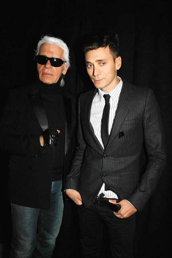 """<strong>On life goals:</strong> <br><br>""""My only ambition in life ... is to wear size 28 jeans."""" - New York Magazine <br><br><em>Pictured with Hedi Slimane.</em>"""