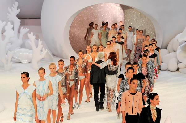 """<strong>On respecting the legacy of Chanel:</strong> <br><br>""""Respect is not creative ... Chanel is an institution, and you have to treat an institution like a whore — and then you get something out of her."""" - New York Magazine <br><br><em>The finale of Chanel's spring/summer 2012 show. </em>"""