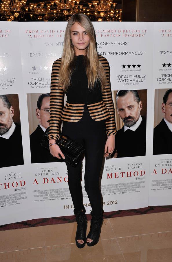 """In Burberry at the """"A Dangerous Method"""" UK Gala film premiere at The Mayfair Hotel, London on January 31, 2012."""