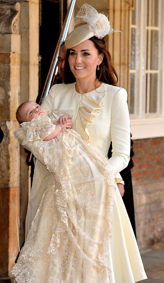 In an ivory skirt and peplum jacket at the royal christening of Prince George of Cambridge on October 23, 2013.