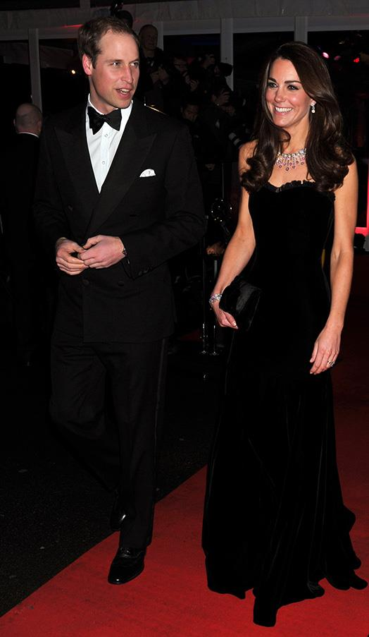 In a strapless floor length number, pictured here with Prince William at the Sun Military Awards on December 19, 2011 in London, England.