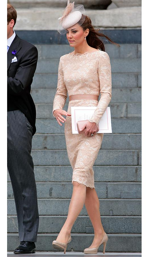 In a fitted lace dress during the Diamond Jubilee celebrations on June 5, 2012 in London, England.