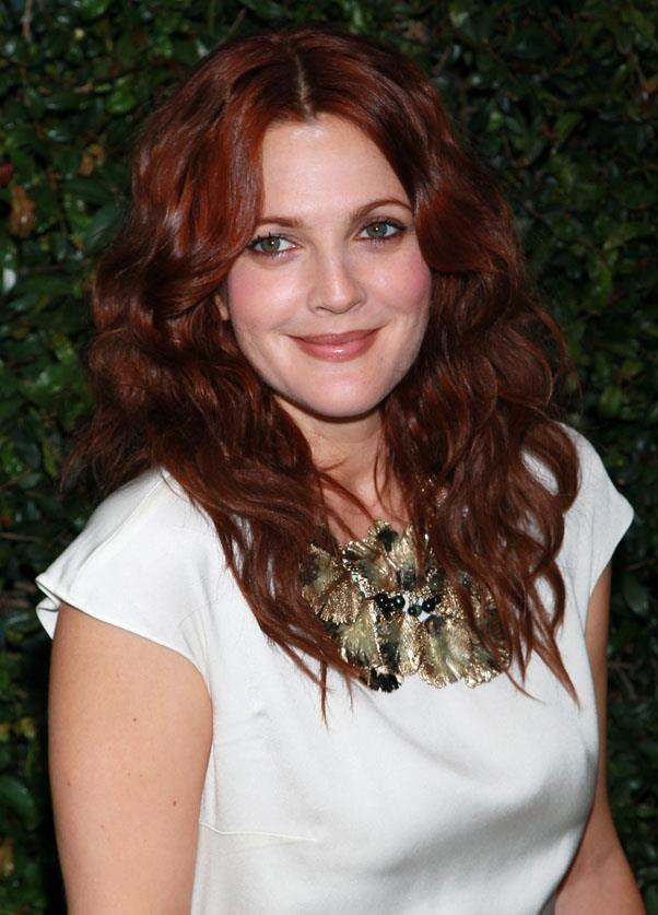 <strong>Drew Barrymore</strong> <br>A natural chameleon, Barrymore has tried every colour in the book - including this rich mahogany hue.