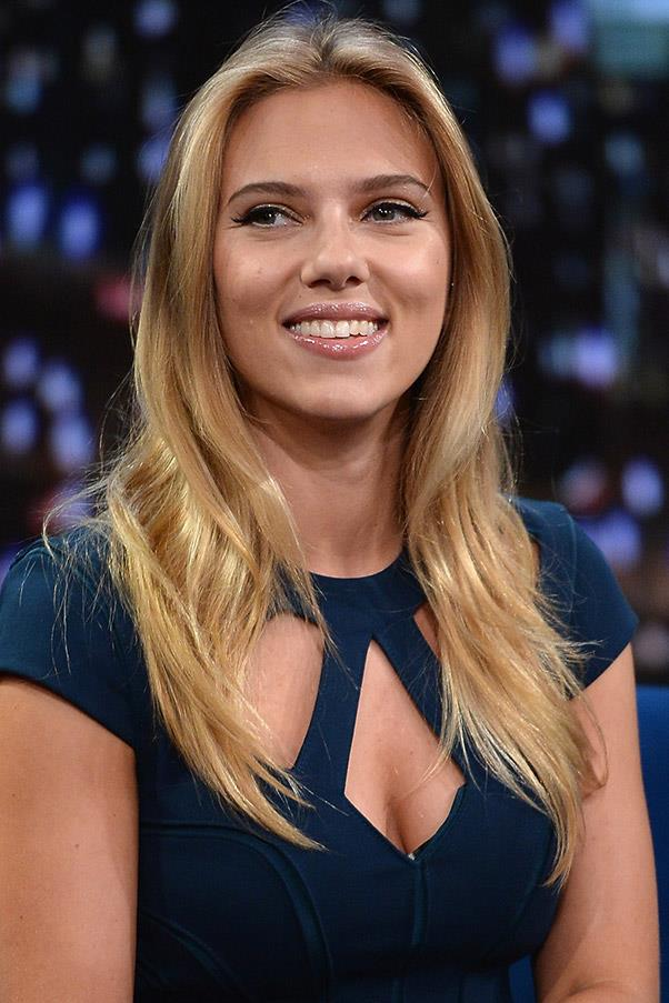 <strong>Scarlett Johansson</strong> <br>But her most recent shiny blonde hue is the winner in our eyes.