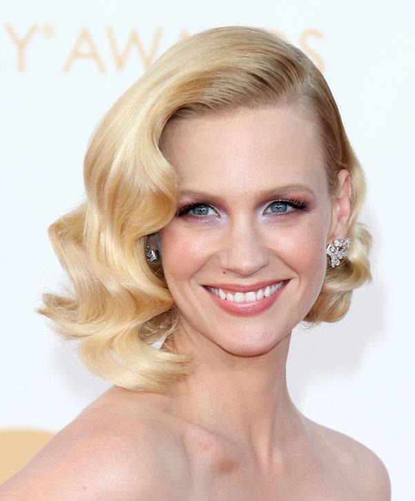 <strong>January Jones</strong> <br>Romantic waves add a feminine touch to this edgy cut.
