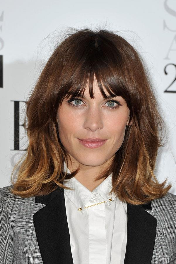 <strong>Alexa Chung</strong> <br>Perhaps the most coveted 'lob' of all time, Alexa's piece-y fringe and soft balayage highlights keep this look fresh and modern.