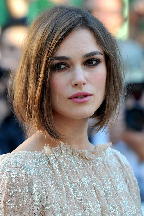 <strong>Keira Knightly</strong> <br>Knightly's chin-grazing length softens and enhances a strong jawline.