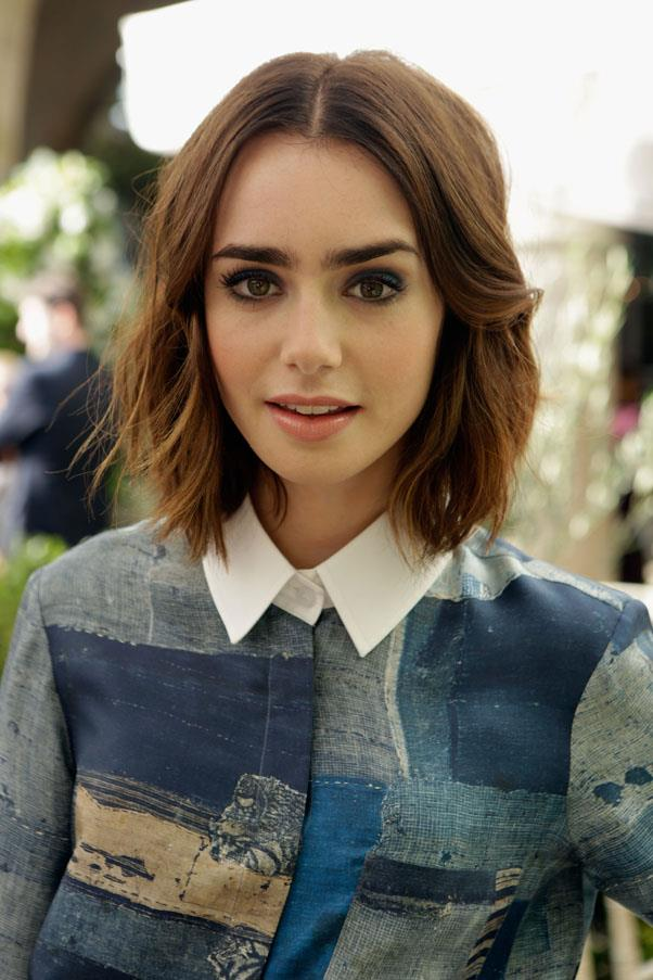 <strong>Lily Collins</strong> <br>...and those shaggy, beachy waves look equally great on a shorter length.