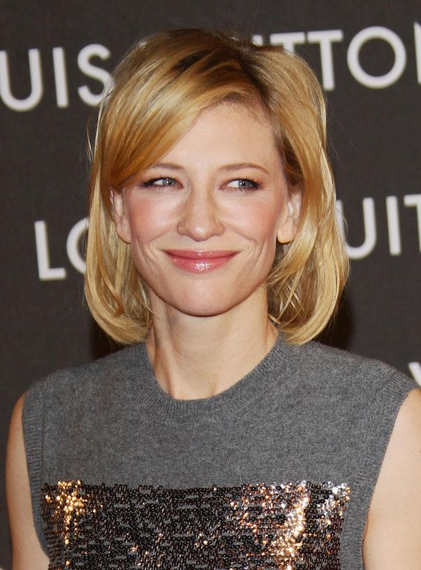 <strong>Cate Blanchett</strong> <br>Sweeping hair in front of the face offsets a larger forehead.