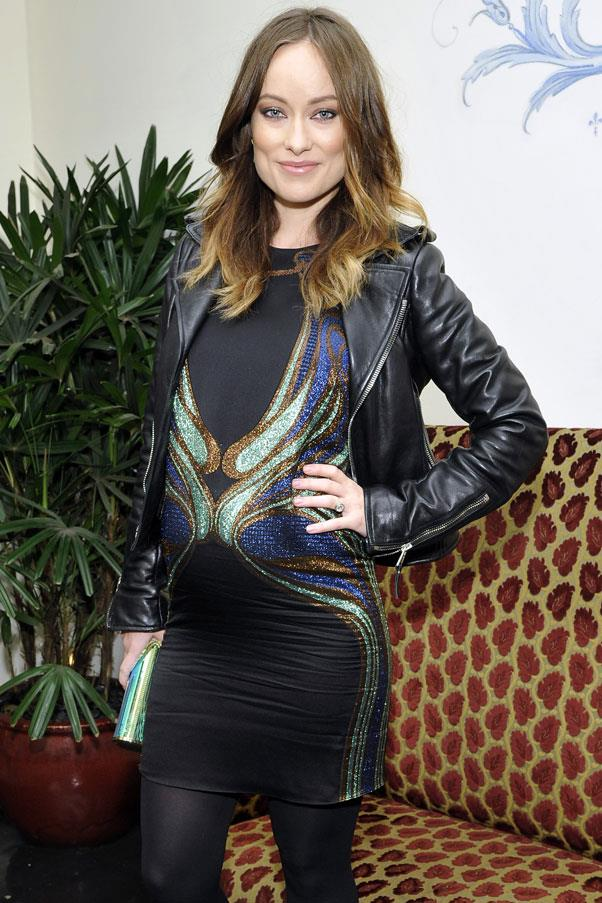 <strong>Olivia Wilde</strong> <br>Olivia Wilde has stayed true to her tomboy aesthetic throughout her pregnancy, toughening up her maternity wear with edgy biker jackets.