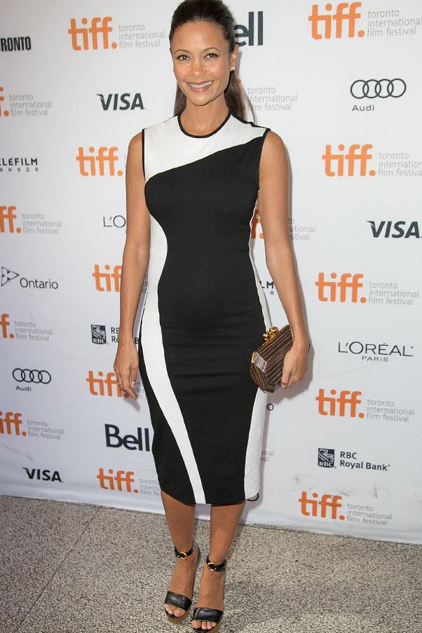 <strong>Thandie Newton</strong> <br>Newton's optical illusion dress worked to balance out the petite actress's burgeoning belly.