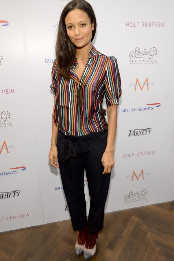 <strong>Thandie Newton</strong> <br>Low-rise pants are a wardrobe staple for any pregnancy.
