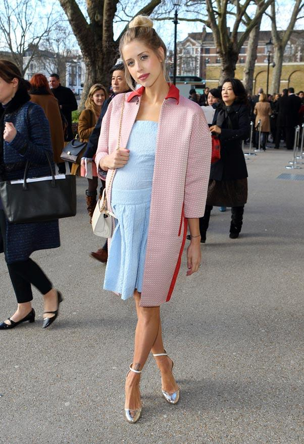 <strong>Peaches Geldof</strong> <br>Pastel on pastel at Paris fashion week.
