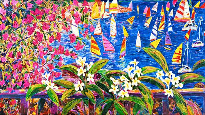 """<strong>Ken Done, artist</strong> <br>""""Looking down on Chinamans Beach [in Mosman, Sydney] from my studio. High tide. Pale turquoise water. Bougainvillea, frangipani and the sound of cicadas. A Sydney summer. What could be better?"""""""