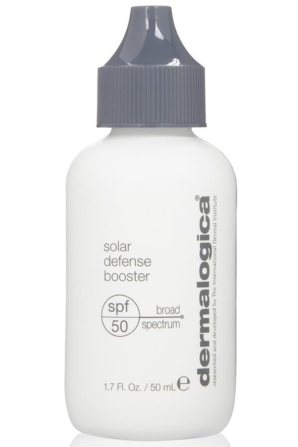"""<strong><a href=""""http://buy.dermalogica.com.au/solar-defense-booster-spf50-50ml.html"""">Dermalogica Solar Defense Booster SPF50</a> - $60 </strong> <br>Add a couple of drops of this to your regular moisturiser or foundation to give it SPF 50+ protection factor. The ultimate versatile product."""