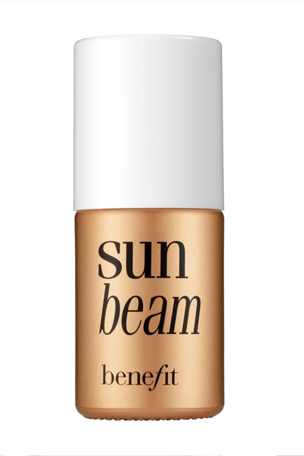 """<strong><a href=""""http://www.benefitcosmetics.com/product/view/sun-beam"""">Benefit Sun Beam Golden Bronze Complexion Highlighter</a> - $26 </strong> <br>The summer version of Benefit's other highlighters, this liquid bronzer gives you that post-holiday glow all year round."""