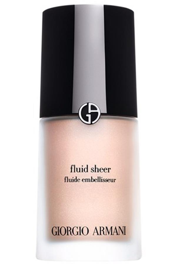 """<strong><a href=""""http://shop.davidjones.com.au/djs/en/davidjones/fluid-sheer"""">Giorgio Armani Fluid Sheer</a> - $86</strong> <br>Add a dash of radiance to your everyday look with this translucent highlighter. Available in a range of shades, wear alone or mix with your foundation or tinted moisturiser."""