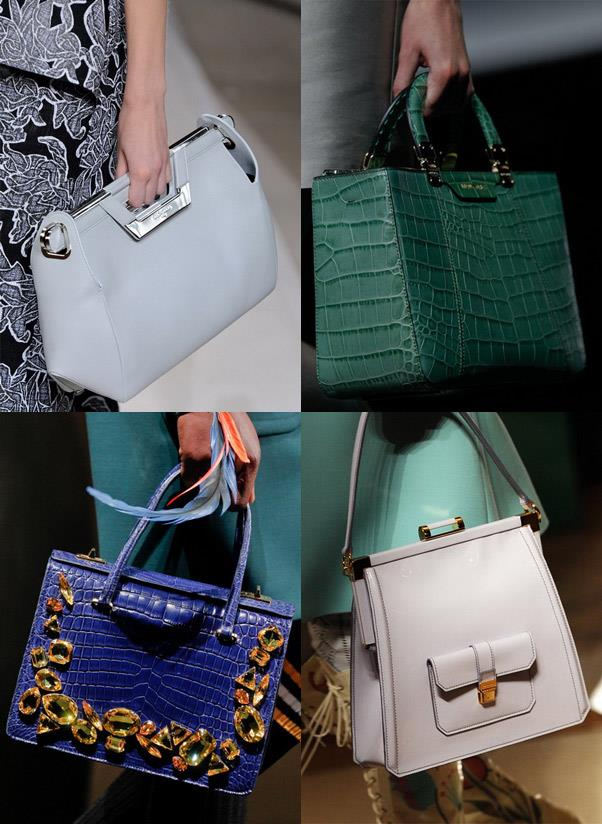 <strong>A lady-like bag</strong><br> This falls into the work-wear category. A structured lady-like handbag means business, adds polish to any outfit and always appears neat on the outside, no matter how many documents, pens and lipsticks lay scattered on the inside…<br> <i>Image: Balenciaga, Armani, Miu Miu, Prada</i>