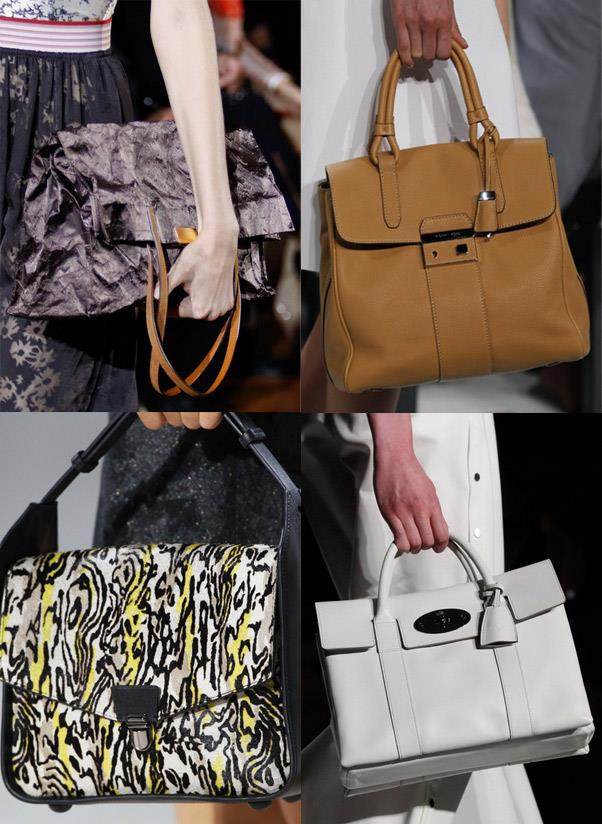 <strong>A satchel</strong><br> Bucket-bags and slouchy clutches will come and go, but the satchel silhouette will never go out of style. Think: a librarian-worthy handbag with an envelope-style flap for easy access.<br> <i>Image: Stella McCartney, Michael Kors, Mulberry, 3.1 Phillip Lim</i>