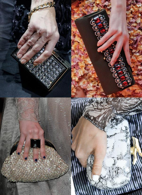 <strong>An evening clutch </strong><br> When it comes to choosing an evening clutch opt for undersized and overdressed. Embellishments are mandatory.<br> <i>Image: Lanvin, Marni, Diane von Furstenberg, Armani Privé</i>