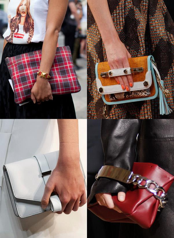 <strong>A daytime clutch</strong><br> For those moments when you have your hands free and want to rush out the door, a simple daytime clutch is the ultimate staple. Besides, it forces you to cut down on stuff and give your shoulders a rest. <br> <i>Image: Givenchy, MSGM, Maison Martin Margiela, Victoria Beckam</i>