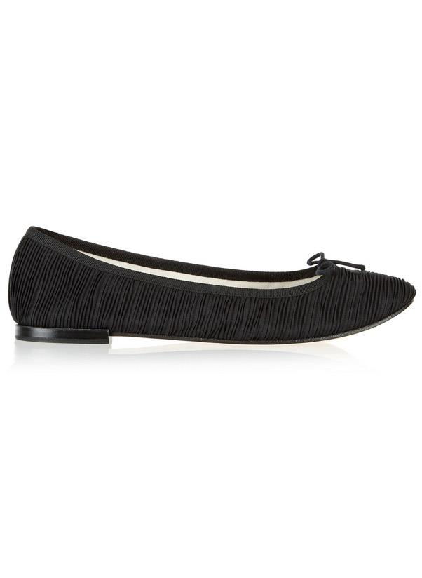 """<strong>Ballet flats</strong><br> Lady-like, comfortable and an Audrey Hepburn-classic, the ballet flat is a no brainer. Tip: if you have an all-black wardrobe perhaps it's best to opt for a printed or pop-colour kind to add a touch of variety. Otherwise, a black, navy, nude or grey pair is the way to go for versatility.<br> <i>Shop: Repetto The Cendrillon satin-plisse ballet flats; <a href=""""http://www.net-a-porter.com/product/411488"""">net-a-porter.com</a></i>"""