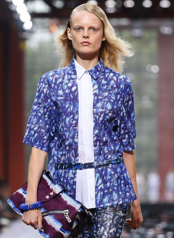 <strong>Plastic pieces</strong><br> Playful jewellery makes a comeback. Case in point: electric blue curly bracelets and necklaces popped on the Kenzo runway.  <br> <i>Image: Kenzo S/S 14</i>