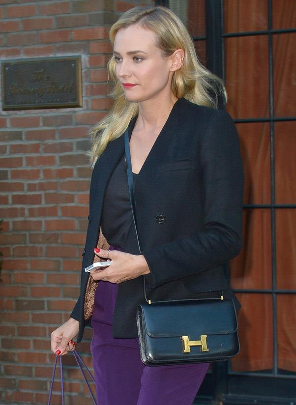 "<b>Hermès Constance</b><br> The Hermès Constance bag dates back to 1959 and is instantly recognisable due to its decadent ""H"" clasp. ""All my life I wanted to own an Hermès Constance bag,"" said Diane Kruger, ""and when I signed with Calvin Klein [as the face of his beauty fragrance], I decided this was the time that I could afford it. I truly broke a sweat when I paid for it.""<br> <i>Diane Kruger (2013)</i>"
