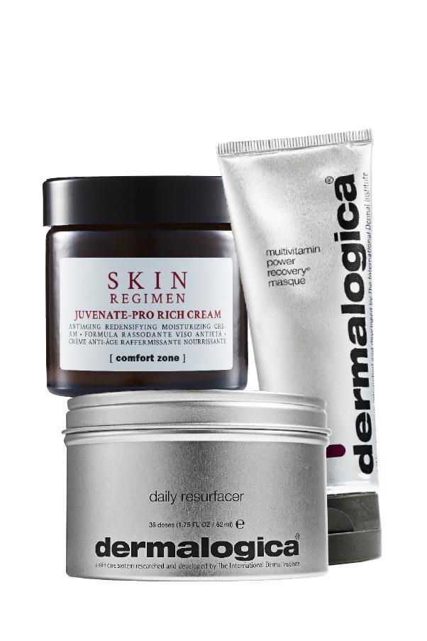 <strong>Bye bye break-outs and bacne </strong> <br>For a hydration hit apply <em>Skin Regimen Juvenate-Pro Rich Cream</em>, $138, which delivers collagen-boosting peptides. If bacne is an issue — the last thing you want when going strapless or backless — have skin treatments early to combat it and allow enough time to heal, according to Field, who recommends her signature Medibac treatment: like a facial for your back.<br><br> Brides would also be wise, she says, to have their manicure, pedicure, body exfoliation and tan (test these early on to find your perfect shade) two days prior to the wedding to enjoy a day of respite. <br><br><em>Pictured: Dermalogica Daily Resurfacer, $94, Dermalogica Multivitamin Power Recovery Masque, $66, and Skin Regimen Juvenate-Pro Rich Cream, $138.</em>
