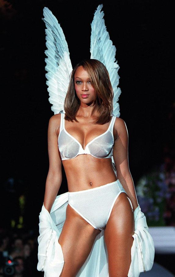 <strong>THE ORIGINALS</strong> <br><strong>Tyra Banks</strong> was the longest serving of all five original Angels, remaining as a face of the brand for eight years until she hung up her wings in 2005. <em>Tyra Banks at the 1998 Victoria's Secret Fashion Show</em>