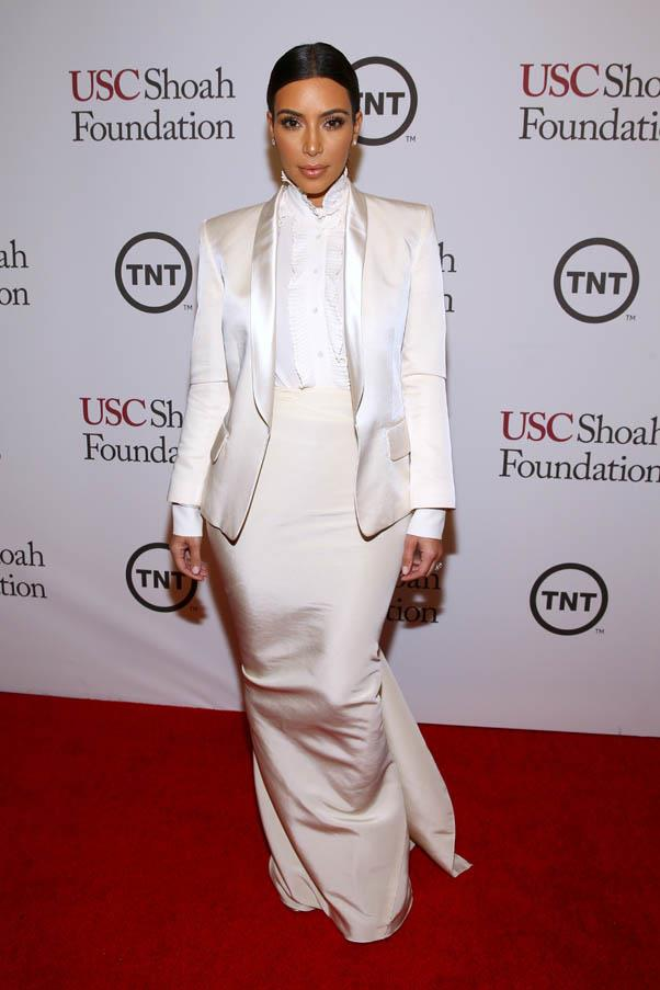 A covered-up Kardashian in head-to-toe white silk at the USC Shoah Foundation's 20th Anniversary Gala on May 7, 2014.