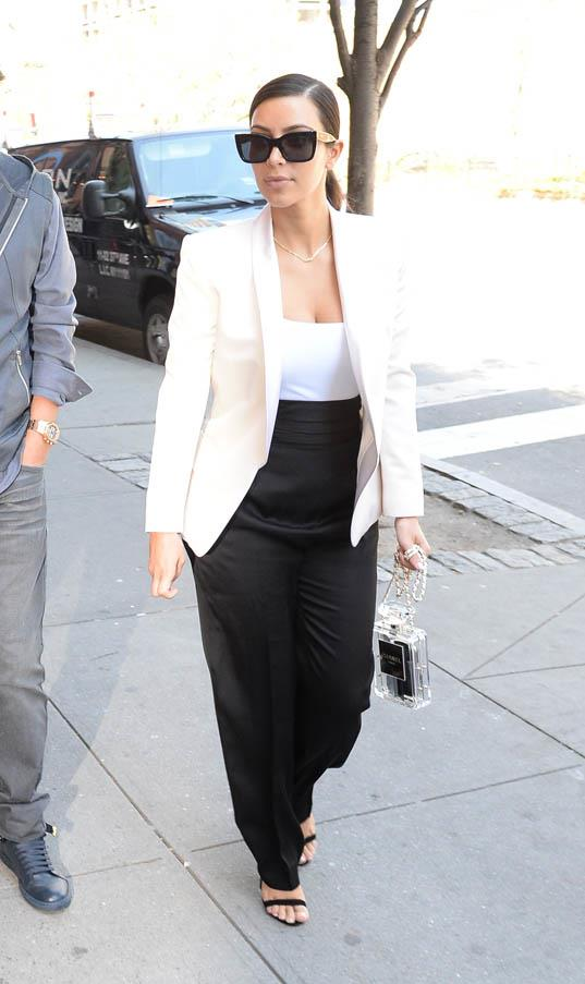 Sleek in monochrome in Soho, New York on May 5, 2014.
