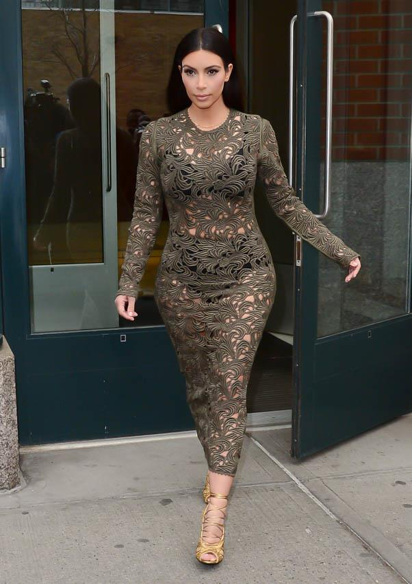 In a Rachel Roy laser-cut dress in New York on March 25, 2014.