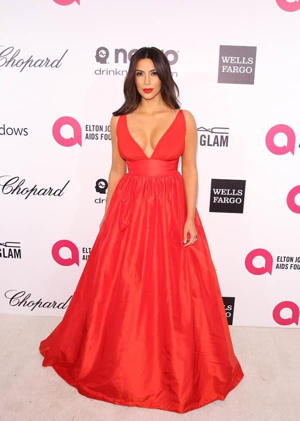 Now <em>this </em>is a red carpet winner - a revealing Celia Kritharioti dress that shows off her curves to perfection at Elton John's AIDS Foundation's annual Oscar Viewing Party on March 2, 2014.