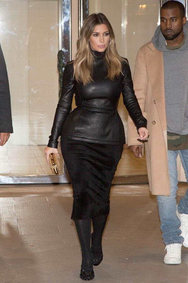 We LOVE this look from Kim - the perfect balance of chic and sexy, on January 19, 2014 in Paris.