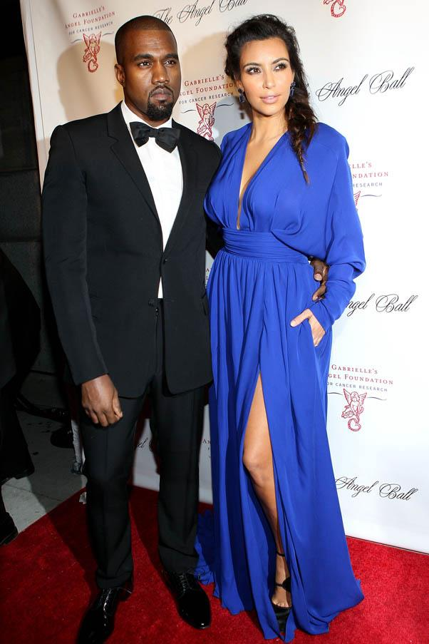 Wearing an electric blue Balmain gown at the Angel Ball in New York with Kanye in October 2012.